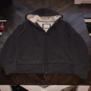 Green Tea, Sherpa lined, full zip hoodie